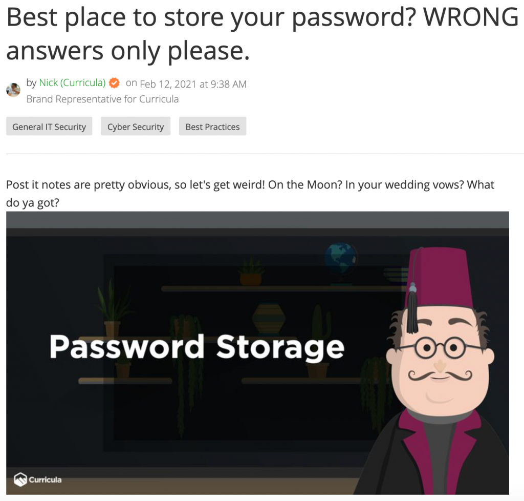 Top 10 Worst Places to Store a Password